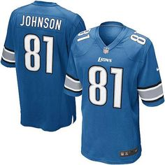 18724f19c59 Calvin Johnson Jersey Youth Nike Detroit Lions #81 Game Team Color Blue  Jersey | Size