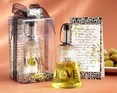 Olive You - Glass olive oil bottle perfect for presentation as wedding or bridal shower favors.