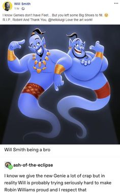 Disney and dreamworks - I know Genles don't have Feet But you Iefi some Bug Shoes to fill R [ P Robin! And Thank You Love the art work! Will Smith being a bro Iknow we give the new Genie a lot of crap but in reality Will is probably trying se Disney Pixar, Disney Animation, Walt Disney, Disney Memes, Disney And Dreamworks, Disney Love, Disney Magic, Disney Characters, Orlando Disney
