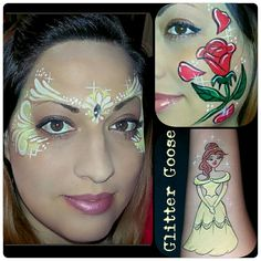 Beauty and the Beast face painting collage by Glitter Goose! Paint art Belle Rose Princess Disney.