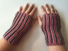 Gray and Pink Wrist Warmers Reversible Crocheted by GabriCrafts