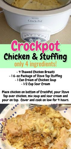 Easy Recipes with Few Ingredients - My Family's Favorite Easy Dinner Recipes - Involvery Easy Crockpot Chicken Recipes - crockpot chicken and stuffing - only 4 ingredients! Easy dinner recipes with few ingredients - easy crockpot meals Easy Crockpot Chicken, Crockpot Dishes, Crock Pot Cooking, Easy Cooking, Fast Crockpot Meals, Crockpot Meals Easy Families, Family Meals, Cheap Chicken Recipes, Fast Easy Dinner