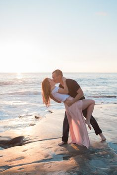 Hannah and Joe's gorgeously romantic beach engagement session at Windansea Beach. - Hannah and Joe's gorgeously romantic beach engagement session at Windansea Beach… – -