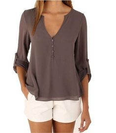 V-neck Long Sleeves Loose Plus Size Chiffon Blouse