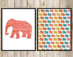 I Meant What I Said... Elephants Faithful One by SouthernSpruce -  Dr. Suess Quote Elephants Watercolor Nursery