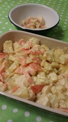 Ensalada de patatas con salmón ahumado y salsa de mostaza. Gourmet Bilbao.