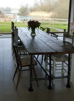 Reclaimed dining table gas pipe large scaffold vintage industrial by breuhaus on Etsy https://www.etsy.com/uk/listing/275407110/reclaimed-dining-table-gas-pipe-large