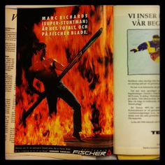 Varför görs inte så här bra reklam nuförtiden??? emoji #stsalpresor #throwbackthursday #90s #tbt #fire #fischer #fischersports #stuntman #burning #skis #hot @Brett Fischer
