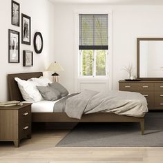 Palle Bedroom Series, shown in stained Walnut. Available in multiple wood stains. Painted Bed Frames, Painted Beds, Contemporary Bedroom, Contemporary Design, Upholstered Platform Bed King, Light Gray Paint, Adjustable Beds, Bed Sizes, Bed Furniture