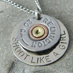 Shoot Like a Girl Bullet Shell Handstamped Necklace | wirenwhimsy - Jewelry on ArtFire--- stack