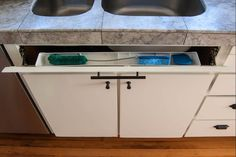 Here's How Hidden Cabinet Hacks Dramatically Increased My Kitchen Storage--Sink tip-out tray Kitchen Sink Organization, Kitchen Storage Hacks, Sink Organizer, Kitchen Cabinet Organization, Storage Ideas, Kitchen Hacks, Storage Solutions, Organization Ideas, Kitchen Cabinet Remodel