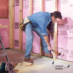 Turn your unfinished basement into a living space. Framing basement walls and insulating basement walls is the core of any basement finishing project plans Insulating Basement Walls, Basement Wall Panels, Framing Basement Walls, Basement Insulation, Basement House, Basement Bedrooms, Wall Insulation, Basement Waterproofing, Basement Ceilings