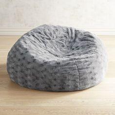 Fuzzy Charcoal Bean Bag