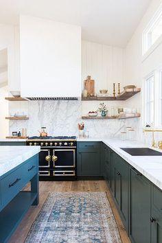 Blue kitchen black oven range