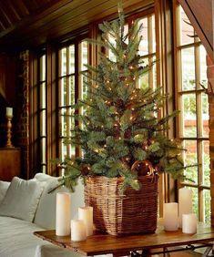 Tabletop Christmas tree in wicker basket