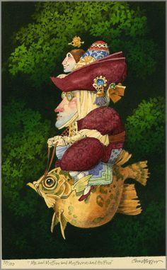 James C. Christensen - Me and My Fish
