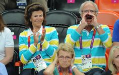 This picture of the king and queen of Sweden cheering on the Swedish handball team at the London Olympics has become a hot topic in that country.