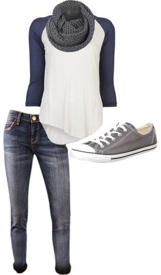 Baseball tees are cute and casual. I love everything about this outfit right down to the chucks. casual in-home or urban session Mode Outfits, Casual Outfits, Fashion Outfits, Womens Fashion, Fashion Clothes, Casual Wear, Fall Winter Outfits, Autumn Winter Fashion, Spring Outfits