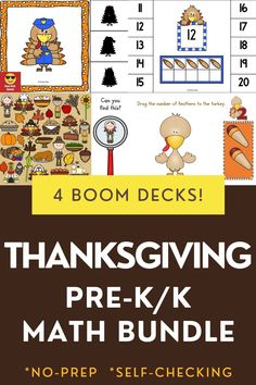 Bundle of 4 interactive games. Use these task cards as a fun center to improve math skills in preschool and kindergarten. This digital resource is compatible with google classroom and seesaw and perfect for distance or homeschooling. #digital #boom #task cards #math #count #number #pre-k #preschool #kindergarten #thanksgiving #turkey #animal #pilgrim #november Interactive Learning, Learning Games, Educational Activities, Math Activities, Kindergarten Thanksgiving, Thanksgiving Math, Preschool Kindergarten, Circle Time Games, Future Games