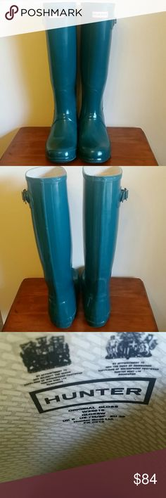 Hunter Boots / Tall Original Gloss Teal Hunter Tall Original Gloss Boots in the color of teal.  Cleaning out my closet!  Good pre loved condition with normal ware. Imperfection at ankle in picture 4. I will add another listing, just to be thorough, with more pictures ( please take a look before making purcahse offer).  Size UK 6, US 7M/8F, EU 39.  Hunters run large, and it's recommended to size down. For more information that is helpful visit the Hunter website :)  *Thank you, no trades…