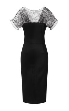 This short sleeve fitted pencil dress from Nina Ricci features an illusion lace top with delicate pleating at the bust, a deep gathered v-back, and back center slit.97% viscose, 3% elastaneLinedMade in France