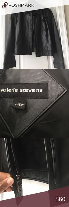 Soft leather jacket Soft leather Valerie Stevens jacket hardly worn. In like new condition. No scratches or scuffs on leather. Valerie Stevens Jackets & Coats