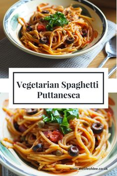 A tasty spaghetti dish packed with tomatoes, olives, capers and none of those nasty anchovies in sight. Syn Free on Slimming World. Wheat Pasta Recipes, Easy Pasta Recipes, Spaghetti Recipes, Easy Dinner Recipes, Dinner Ideas, Vegetarian Spaghetti, Vegetarian Dinners, Vegetarian Recipes, Cooking Recipes