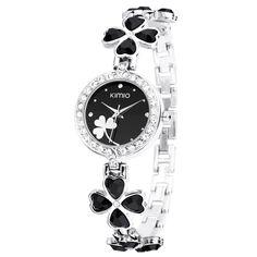 Kimio K456L Leaf Clover Ladies Crystal Flowers Diamond Quartz Bracelet Wrist Watch - Black