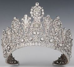 Luxembourg Royal Jewels - The Empire Diamond Tiara  First worn in 1919 by Grand Duchess Charlotte of Luxembourg at her marriage to Prince Felix of Bourbon-Parma