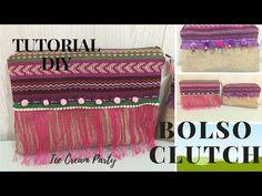 TUTORIAL DIY BOLSO MANO/BOLSO CLUTCH/BOLSO ETNICO - YouTube Diy Clutch, Clutch Bags, Cute Socks, Diy Tutorial, Pouch, Sewing, How To Make, Youtube, Amor