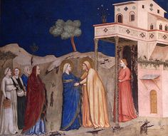 Giotto - The Visitation of Mary to Elizabeth.  - seems to be a lot of flowy gowns with belts in some of the 14th c italian work, lovely.