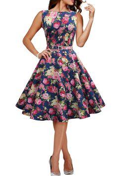 Audrey Hepburn Style Floral Vintage Divinity Rockabilly Swing Pin Up Dress 50s Dresses, Vintage Dresses, Vintage Outfits, Fashion Dresses, Black Butterfly Clothing, Audrey Hepburn Stil, Retro Fashion, Vintage Fashion, Womens Fashion
