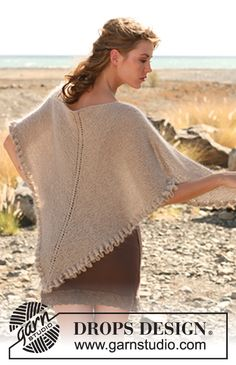 "Knitted DROPS shawl in garter st with wavy edge in ""Alpaca"" and ""Kid-Silk"""