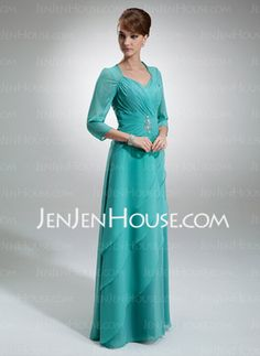 A-Line/Princess Sweetheart Floor-Length Chiffon Mother of the Bride Dresses With Ruffle Beading (008005695)