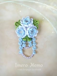 Blue Blossoms Brooch for Hijab