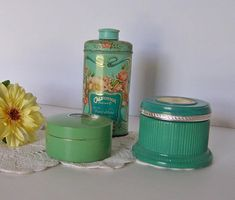 Cosmetic Tin Collection  Lot of Three in Turquoise Green