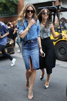 denim chambray shirt + denim pencil skirt (Olivia Palermo)