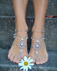Silver WEDDING BAREFOOT SANDALS Chain sandals bridal foot jewelry ...