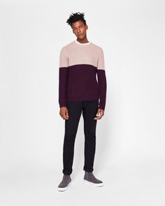 6b8fdc5f8 Ribbed knit colour-block jumper - Dusky Pink | Knitwear | Ted Baker UK