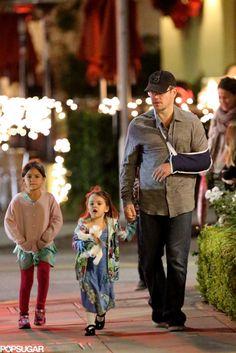 Matt Damon with his daughters.