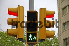 traffic light green light for pedestrians and cyclists red light for the street traffic Barcelona Catalonia Spain