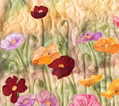 Hand painted fabric art quilt  Poppies by ArtQuiltsbyGretchen, $150.00