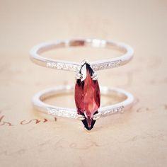 Anna Sheffield Attelage Marquis Garnet and Diamond 14k White Gold Ring.
