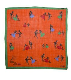 Dancing Print Wool and Silk Pocket Square - Pocket Squares - Online Shop - Drakes London