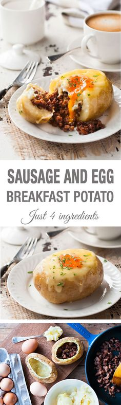 Sausage & Egg Breakfast Potato Skins -  a new way to serve up your breakfast favorites! Great for feeding a crowd.