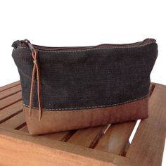 Recycle Denim & Leather Zip Clutch                                                                                                                                                                                 More