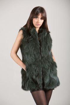 Green Fox Fur Vest