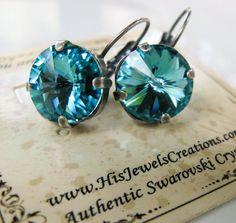 New Swarovski Rivoli Light Turquoise Crystal by HisJewelsCreations, $24.00