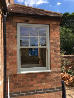 uPVC Sash Windows by The Rose Collection, Ultimate Rose. Upvc Sash Windows, Green Windows, Wood Windows, Windows And Doors, Coloured Upvc Windows, Cottage Windows, House Windows, Window Shutters Exterior, Exterior Doors
