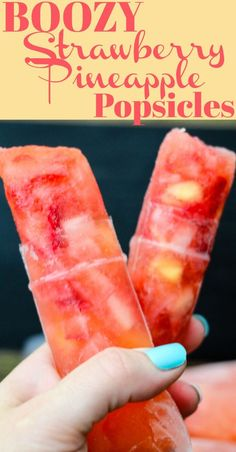 BOOZY Strawberry Pineapple Popsicles are full of fresh ingredients and a kick of rum. Why make traditional cocktails when you can have fun adult popsicles? These Boozy Strawberry Pineapple Popsicles are perfect anytime, but are Vodka Popsicles, Pineapple Popsicles, Alcoholic Popsicles, Alcoholic Shots, Homemade Popsicles, Gummy Bear Popsicles, Pineapple Ice Cream, Pineapple Vodka, Healthy Popsicles